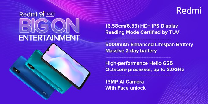 Redmi 9i Launched for Rs.8,299 in India with MIUI12 based Android 10, 4GB  RAM, and Helio G25 Soc - TrendCyborg